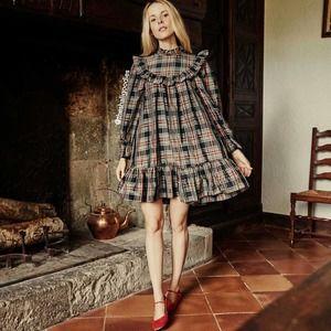 DOEN Bromley Dress Alcott Plaid Silk Ruffle